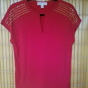 Michael Kors red blouse with gold stud accents